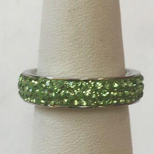Stainless Steel Green Swarovski Crystal Ring